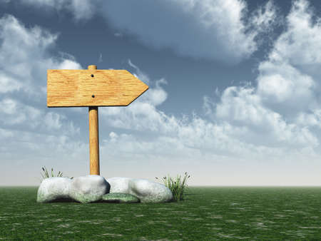wooden roadsign and stones under cloudy blue sky - 3d illustration illustration