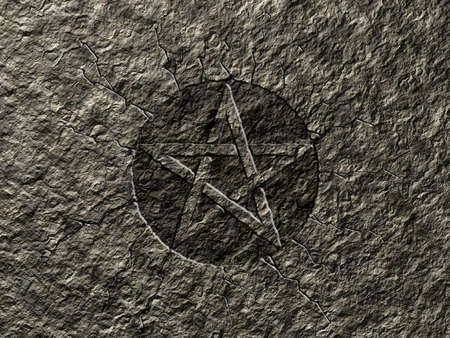 pentagram symbol on stone background Stock Photo - 19503281