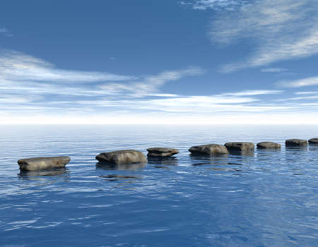 row of stones at water - 3d illustration illustration