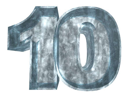 number ten: frozen number ten - 10 - on white background - 3d illustration