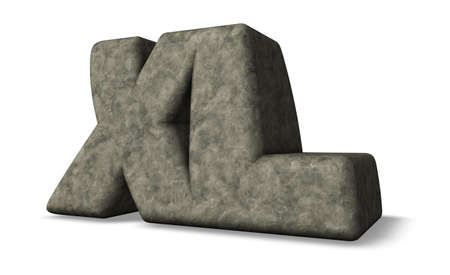 superlative: stone letters xl on white background - 3d illustration