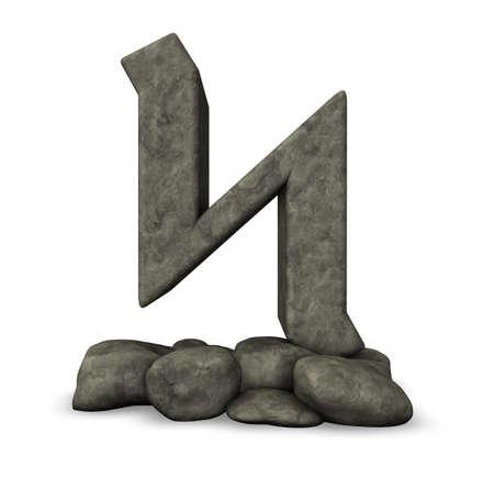 sone: stone rune on white background - 3d illustration Stock Photo
