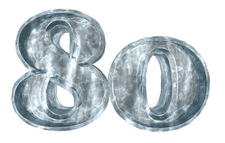 eighty: frozen number eighty on white background - 3d illustration Stock Photo