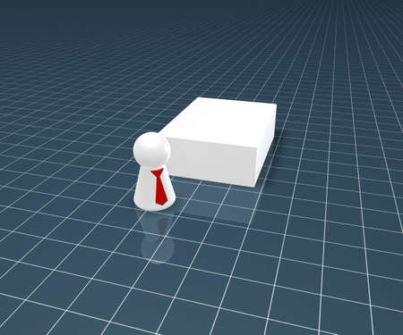 blank packing and play figure with tie - 3d illustration illustration