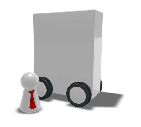 figur: play figur with tie and box on wheels - 3d illustration