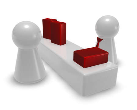 play figures in store - seller and customer - 3d illustration illustration