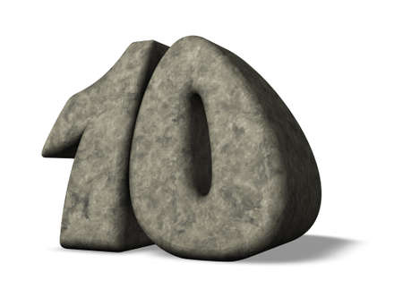 number ten: stone number ten - 3d illustration