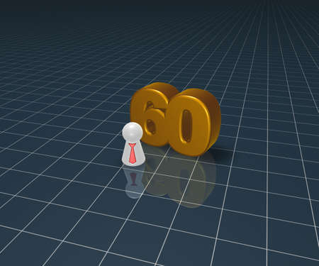 number sixty and play figure with tie - 3d illustration illustration