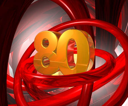 eighty: number eighty in abstract futuristic space - 3d illustration