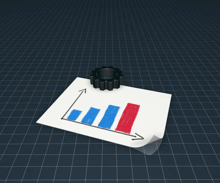 gear wheel and business graph on white paper sheet - 3d illustration illustration