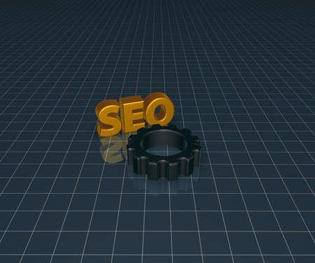 seo tag with gear wheel - 3d illustration illustration