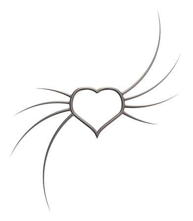 prickles: metal heart with prickles - 3d illustration