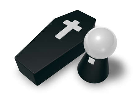 casket: black casket whit christian cross and simple pastor character - 3d illustration Stock Photo