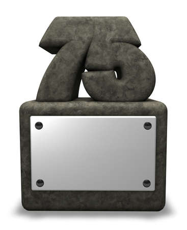 seventy: stone number seventy five on socket - 3d illustration