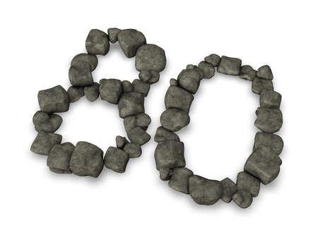 achtzig: Zahl achtzig aus Kieselsteinen - 3d illustration