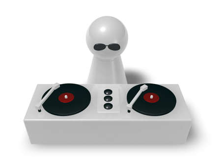 disc jockey on turntables - 3d illustration illustration