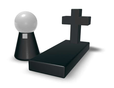 morbid: grave whit christian cross and simple pastor character - 3d illustration