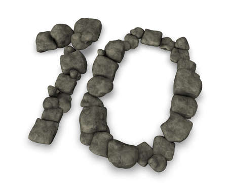 number ten: number ten made from pebbles - 3d illustration