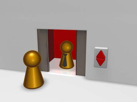 play figures and elevator - 3d illustration illustration