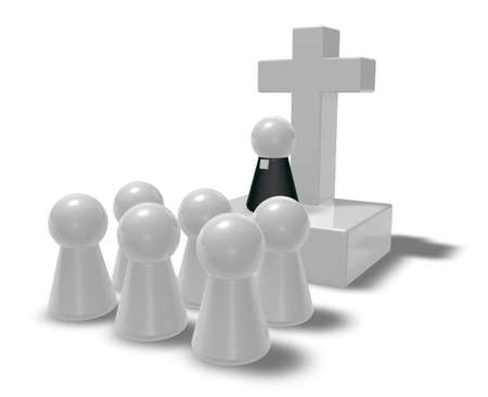protestant: simple pastor figure, christian cross symbol and crowd - 3d illustration