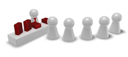 プレイは、ストア - 売り手と顧客の数字-3 d イラスト