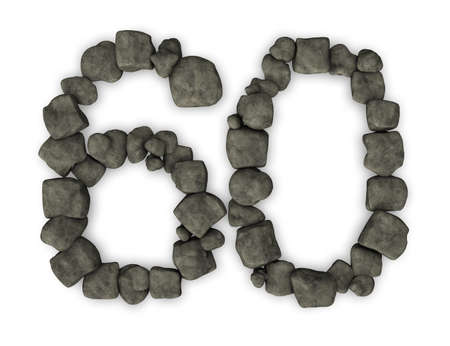 sixty: number sixty made from pebbles - 3d illustration