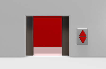 open elevator door and up and down buttons - 3d illustration illustration