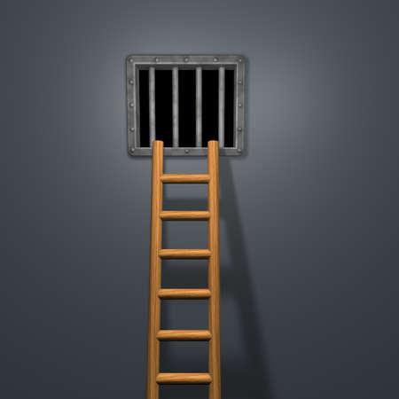 riveted steel prison window and wooden letter - 3d illustration illustration
