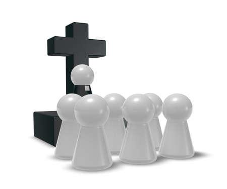 simple pastor figure, christian cross symbol and crowd - 3d illustration
