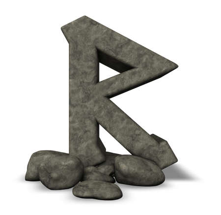 stone rune on white background - 3d illustration illustration
