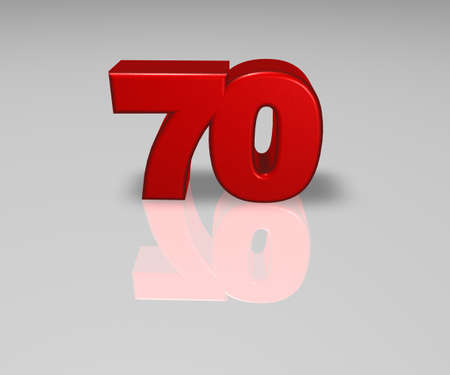 seventy: red number seventy on shiny background - 3d illustration
