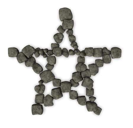 neopaganism: pentagram made from stone pebbles - 3d illustration Stock Photo