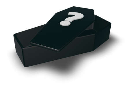 black casket whit question mark - 3d illustration
