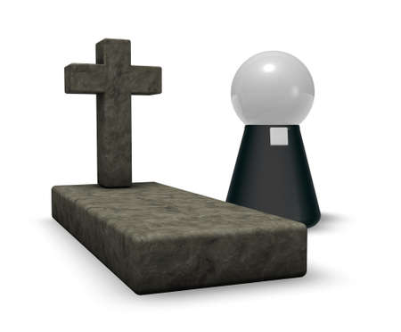 preacher: grave with christian cross and simple pastor character - 3d illustration Stock Photo