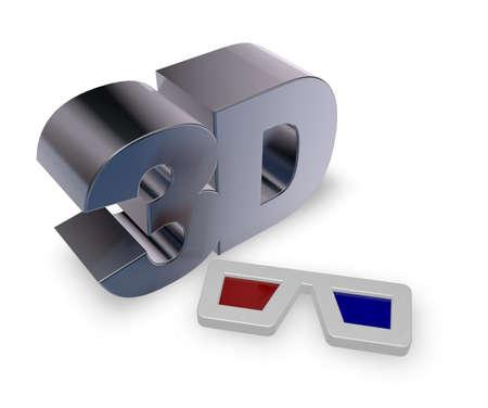 metal 3d tag and glasses on white background - 3d illustration illustration