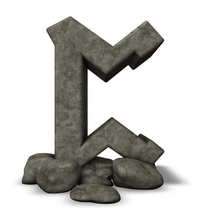 rune: stone rune on white background - 3d illustration Stock Photo