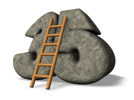 thirty five: ladder leans on stone number thirty five - 3d illustration Stock Photo