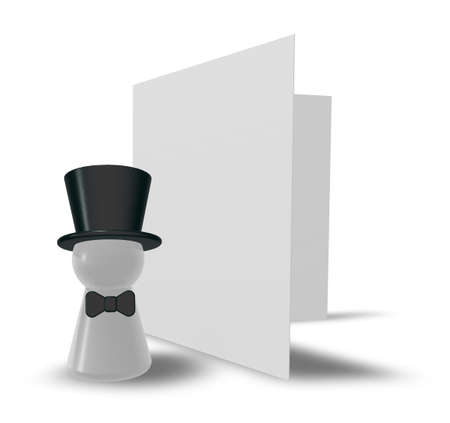 figure with big hat and blank card on white background - 3d illustration illustration
