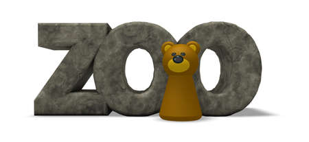 simple bear character and the word zoo on white background - 3d illustration