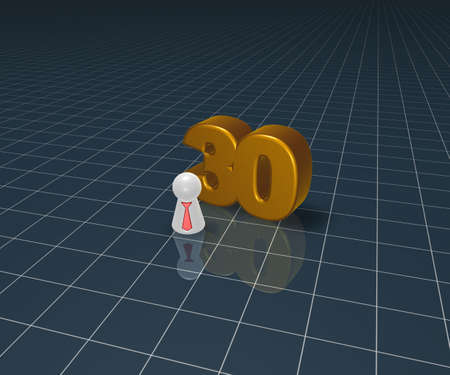 number thirty and play figure with tie - 3d illustration illustration