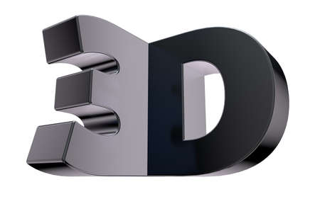 stereoscopic: metal 3d tag on white background - 3d illustration
