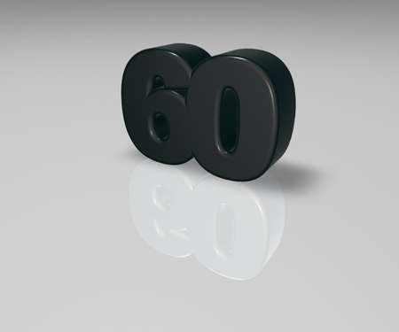 sixty: number sixty on white background - 3d illustration