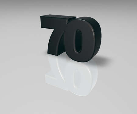 seventy: number seventy on white background - 3d illustration Stock Photo