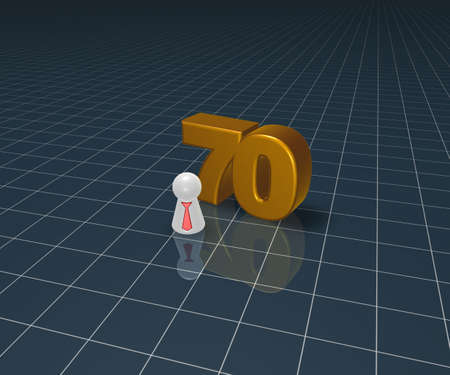 number seventy and play figure with tie - 3d illustration illustration