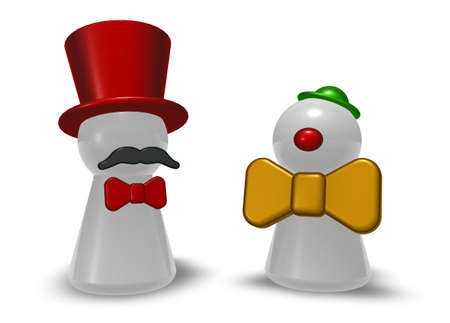 characters clown and ringmaster on white background - 3d illustration illustration