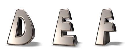 def: metal letters def on white background - 3d illustration