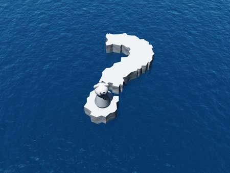 polar bear on question mark Ice floe - 3d illustration illustration