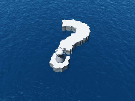 floe: polar bear on question mark Ice floe - 3d illustration