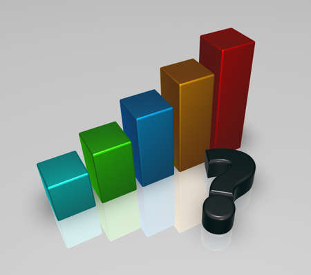 business graph and question mark - 3d illustration illustration
