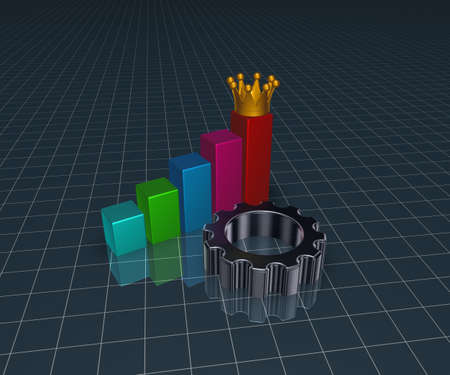 gear wheel and business graph with crown  - 3d illustration illustration